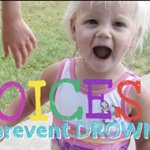 Young child smiling with Voices to Prevent Drowning caption.