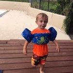 Judah Walking with Floatie on